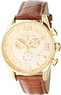 Men's Belleza Analog Swiss Quartz Watch Gold Stainless Steel Case with Brown Leather Strap 22011-YG-010-BR