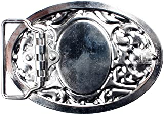 Lovoski Western Hot Silver Plated Flower&Glass Belt Buckle For Cowboy Cowgirl 1Piece