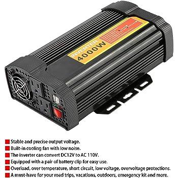 Fydun Power Inverter 12V 24V Universal 6000W Convertitore di Potenza per Auto da 12V a 220V Caricabatteria per auto USB