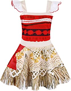 AmzBarley Moana Costume for Toddler Girls Adventure Outfits Halloween Christmas Birthday Party Cosplay Dress up Outfits Ru...