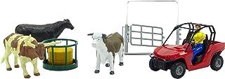 Juego de Animales y Accesorios Newray Farm con 4X4 Rojo, Ganado y esgrima: Edades 3+