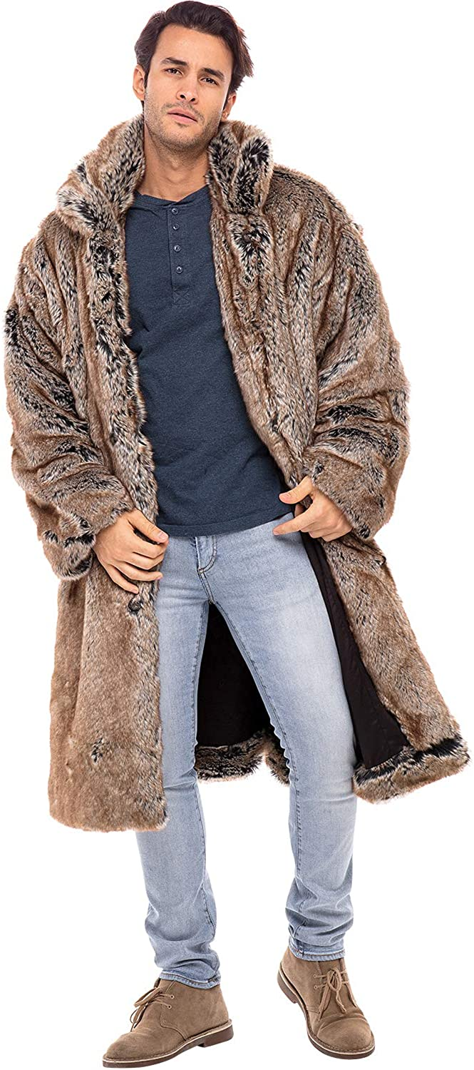 Alexander Del Rossa Men?s Faux Fur Coat - Boxy Style with Pockets, Stand-Up Collar, Button Front