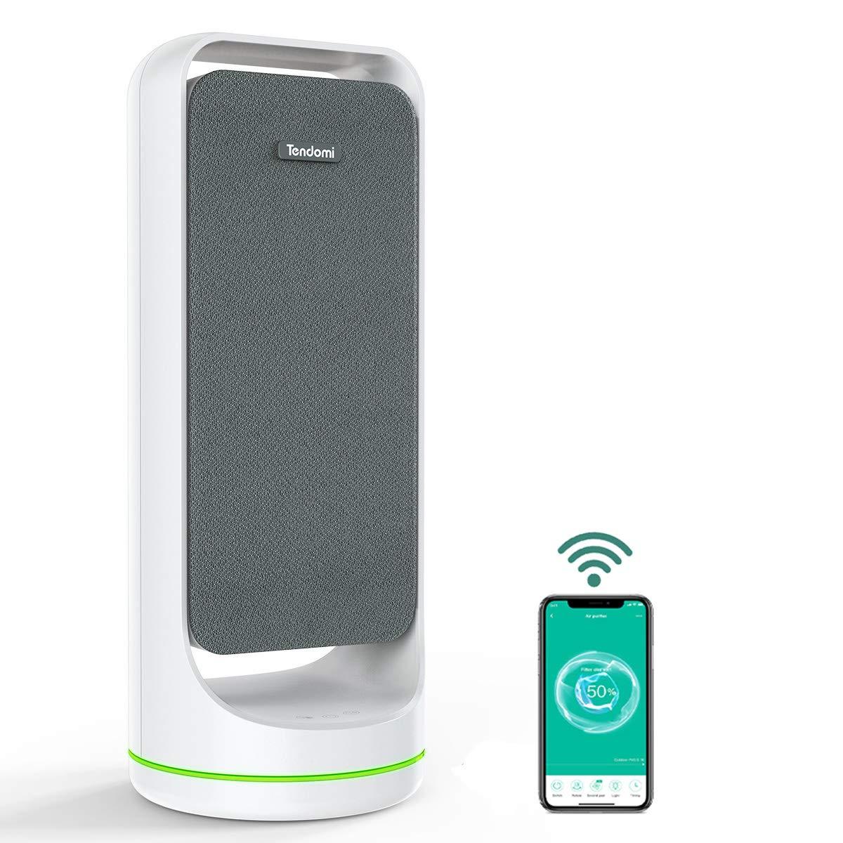 TENDOMI Purificador de Aire Portátil con HEPA para Hogar, WiFi Inteligente Air Purifier, 4 Modos de Purificación, 6 ...