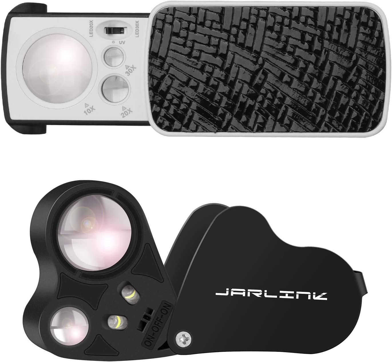 JARLINK 2 Pack Jewelry Loupes Spring new work one after another 30X Magnifi Illuminated Max 55% OFF 60X Loupe