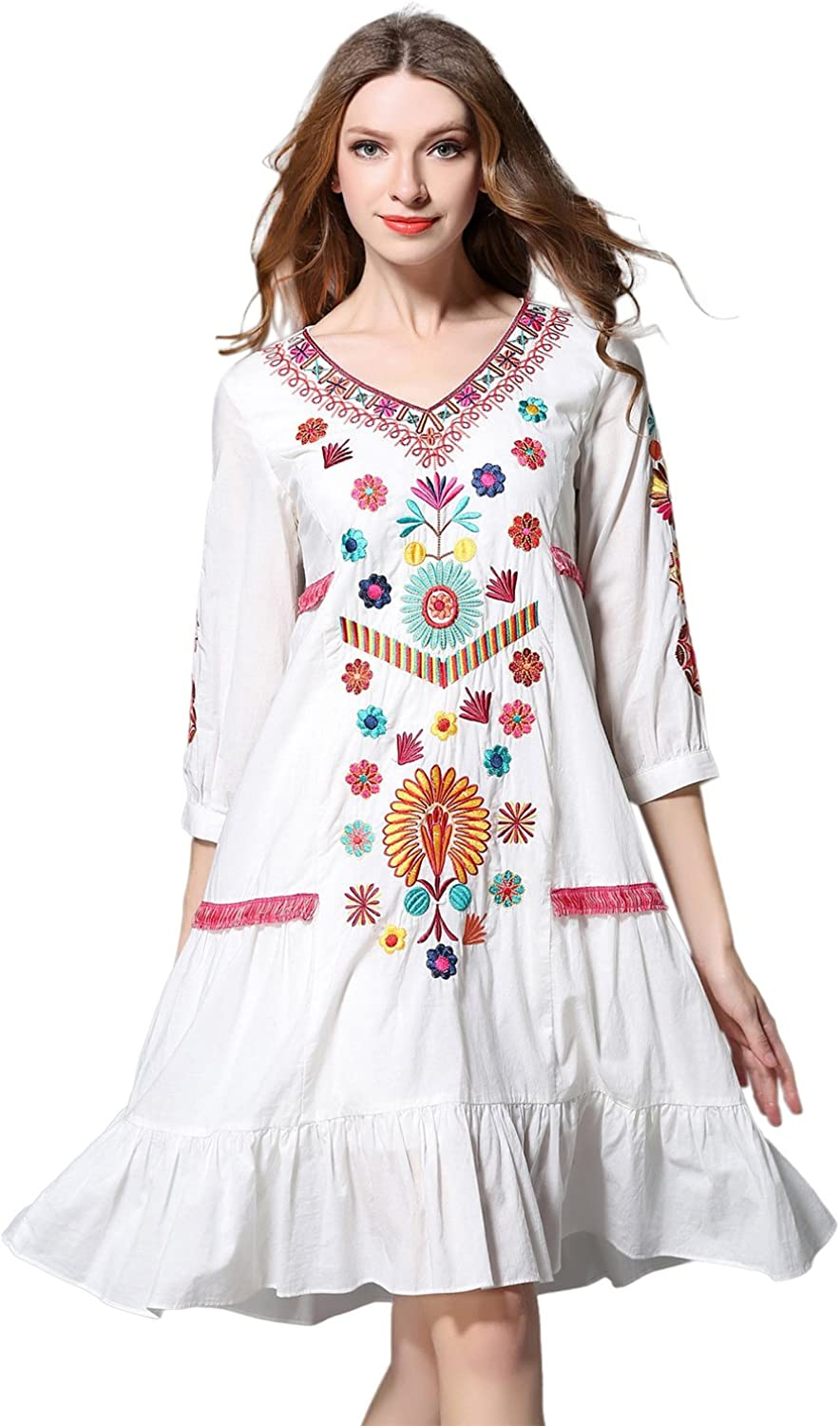 Shineflow Womens Casual 3 4 Sleeve Floral Embroidered Mexican Peasant Dressy Tops Blouses Shirt Dress Tunic
