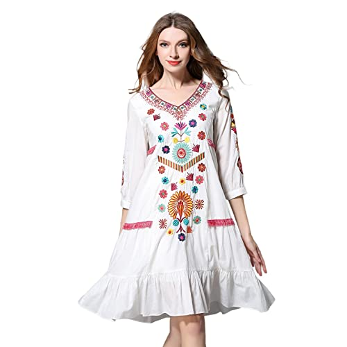 5093a9e3cfa1 Shineflow Womens Casual 3 4 Sleeve Floral Embroidered Mexican Peasant  Dressy Tops Blouses Shirt Dress