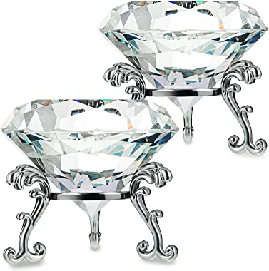 Teblacker 2 Pack 80mm(3.15 inch) Large Crystal Diamond Paperweight with Stand,Nail Desk,for Wedding,Home Table Decoration