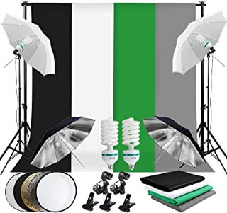 Abeststudio 2M x 3M/6.6ft x 10ft Background Support System with 1.6x3M (White Bluck Green Gray) 2x 135W Umbrellas Softbox Continuous Lighting Kit for Photo Studio Product,Portrait and Video Shoot Photography