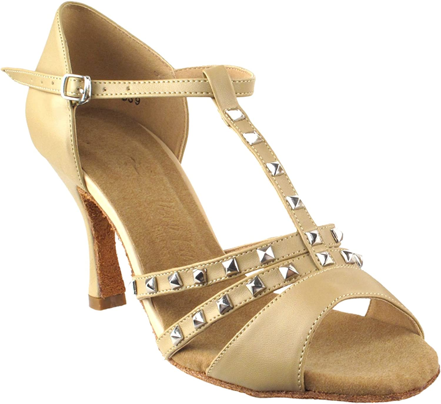 Party Party Beige Dance Shoes: SERA7012 Tan Leather 3