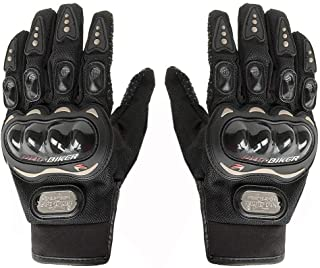 Delhi Traders Brand New Biking/Bike Racing Pro-Biker Riding Hand Gloves (Black_Large)