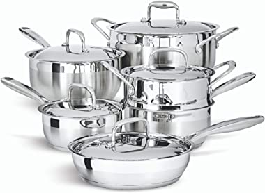 Paderno 11-Piece Stainless-Steel Cookware Set | Kitchen Pots and Pans Set with Covered Steamer
