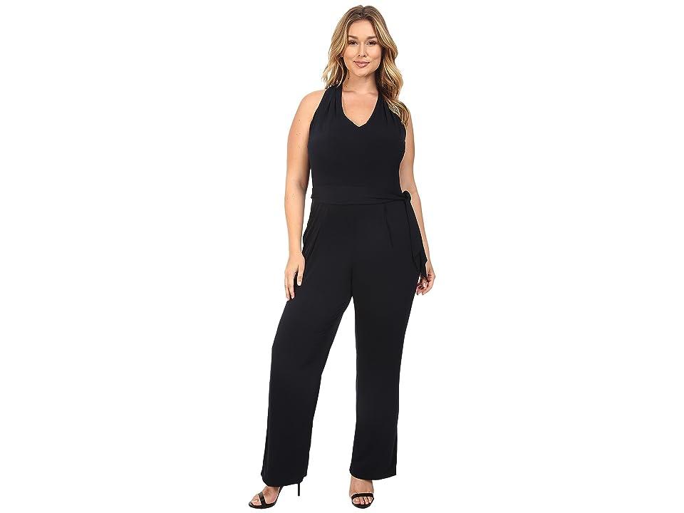 MICHAEL Michael Kors Plus Size Belted Halter Jumpsuit (New Navy) Women