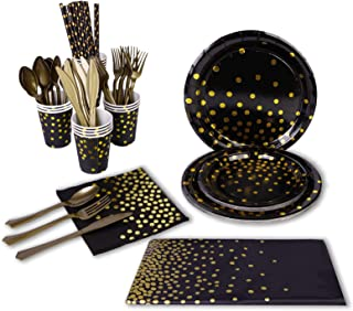 Beauenty 96 Pieces Black Gold Party Supplies Party Tableware Foil Paper Plates Napkins Cups Straws for Weddings, Anniversa...