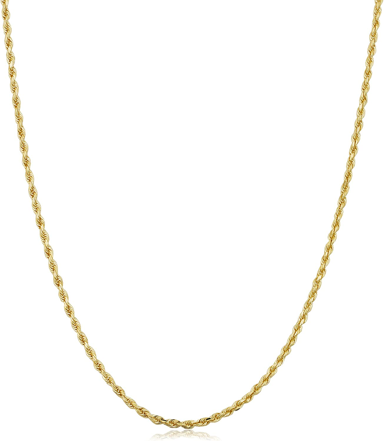 Kooljewelry 14k Yellow Gold 1.6 mm Rope Chain Necklace (14, 16, 18, 20, 22, 24 or 30 inch)