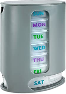 MEDca Weekly Pill Organizer, 1 Dispenser, 7 Stackable Compartments Four Times-a-Day - Morning, Noon, Evening, and Bedtime, Grey