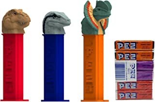 Pez Candy Dispenser: Jurassic World Dinosaur Dispensers and Candy Refill Set: T-Rex, Blue the Raptor and Dilophosaurus (3 Dispensers and 6 Additional PEZ CandyRefills)