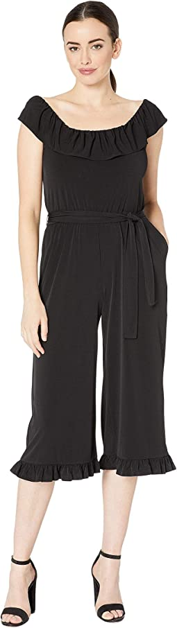 Solid Ruffle Neck Jumpsuit