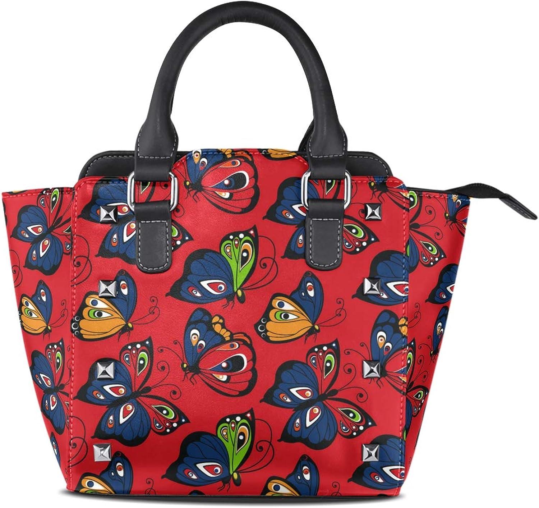 My Little Nest Women's Top Handle Satchel Handbag Butterflies Ladies PU Leather Shoulder Bag Crossbody Bag