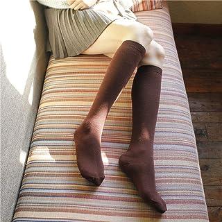 ZhiGe Mujer Calcetines hasta la Rodilla,3 Pares de Calcetines Placa y Calcetines de la Rodilla en el algodón de la Rodilla Medias Mujer Colores Puros Calcetines de Barril de Alta