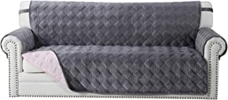 OstepDecor Luxurious Quilted Sofa Cover, Seat Width Up to 70 Inch Velvet Furniture Protector, Couch Protector, Couch Cover Cushion Couch Sofa Slipcover for Pets, Dogs, Cats (Sofa: Dark Gray)