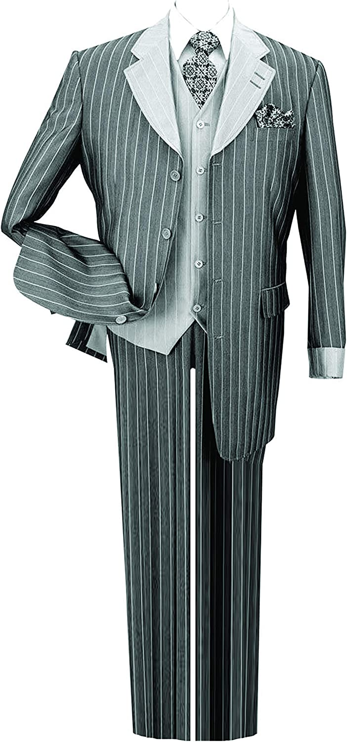 Milano Moda Pinestripe Fashion Suit with Contrast Collar, Cuffs & Vest, 4 Colors