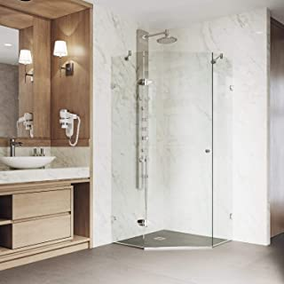 """VIGO VG6061BNCL38 Verona 38"""" x 38"""" inch Clear Glass Corner Frameless Neo-Angle Shower Enclosure, Hinged Shower Door with Magnalock Technology, 304 Stainless-Steel Shower Hardware in Brushed Nickel Finish"""