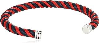 TOMMY HILFIGER MEN'S SS & RED & NAVY LEATHER BRACELETS -2790195