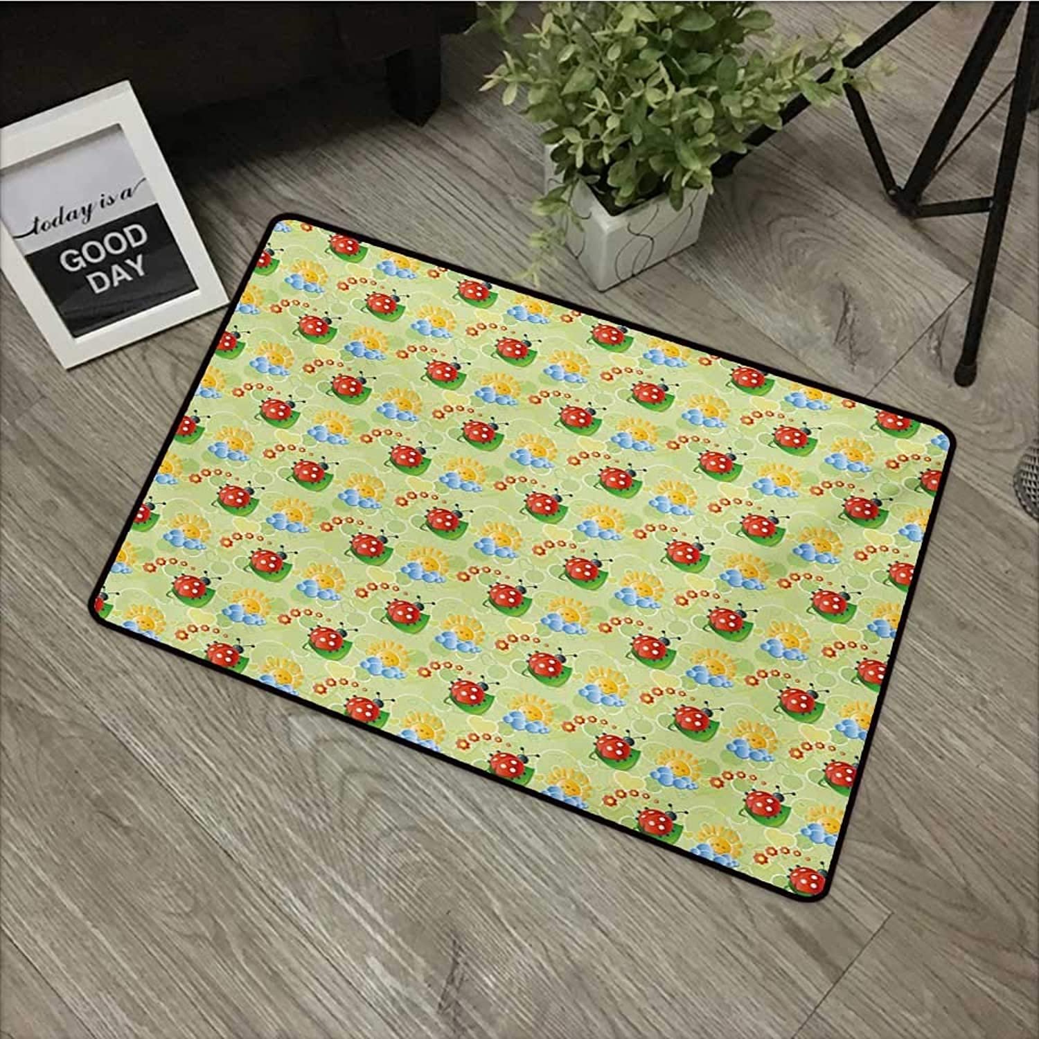 Bathroom Door mat W35 x L59 INCH Nursery,Happy Smiling Sun with Flowers and Ladybugs Cute Image Nature Inspired Drawing,Multicolor Easy to Clean, no Deformation, no Fading Non-Slip Door Mat Carpet