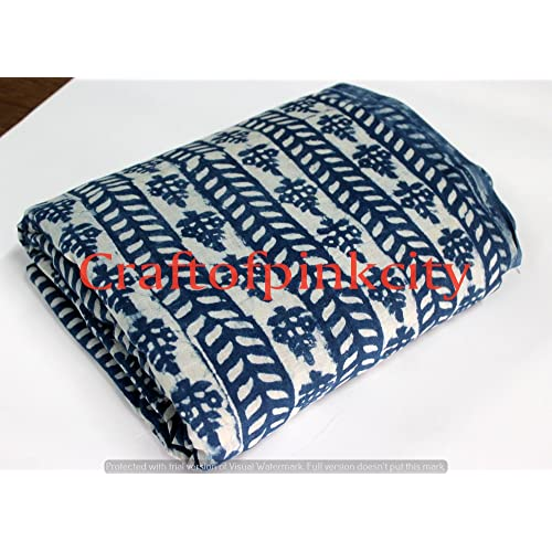 Worldoftextile Pure Cotton Fabric Sanganeri Polka Dot Hand Block Print Fabric Indian Indigo Blue Fabric 2.5 Meter