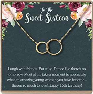 Sweet 16 Gift Necklace: Sweet Sixteen, 16th Birthday, Gift for Her, 2 Asymmetrical Circles