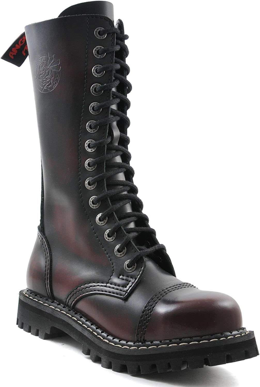 ANGRY ITCH 14-Loch Gothic Punk Army Ranger Armee Burgundy Rub-Off Leder Stiefel mit RV & Stahlkappe - Gren 36-48 - Made in EU