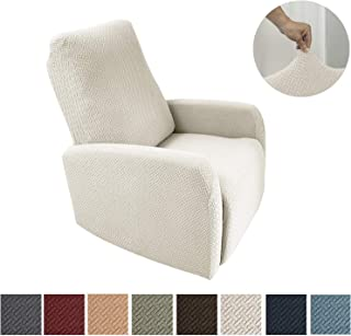 Obytex 4 Pieces Stretch Recliner Chair Cover Polyester and Spandex Upgrade Pattern Couch Covers Dog Cat Pet Slipcovers Furniture Protectors,Machine Washable (Recliner, Cream)