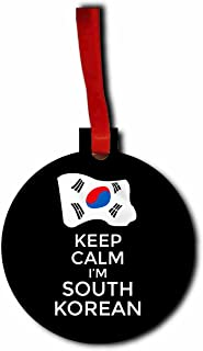Keep Calm I'm South Korean Hanging Tree Ornament - Round Shaped - Flat - Hardboard - Christmas Holiday - Made in the U.S.A. by Jacks Outlet TM