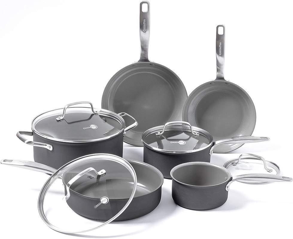 GreenPan Chatham Ceramic Non Stick 10Pc Cookware Set Grey