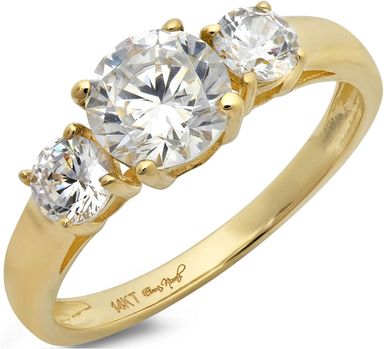 1.47ct Brilliant Round Cut Solitaire three stone Stunning Genuine White lab created Sapphire Ideal VVS1 & Simulated Diamond Designer Modern Statement Ring Real Solid 14k Yellow Gold Clara Pucci