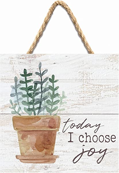 P Graham Dunn Today I Choose Joy Plant Whitewash 7 X 7 Inch Wood Pallet Wall Hanging Sign
