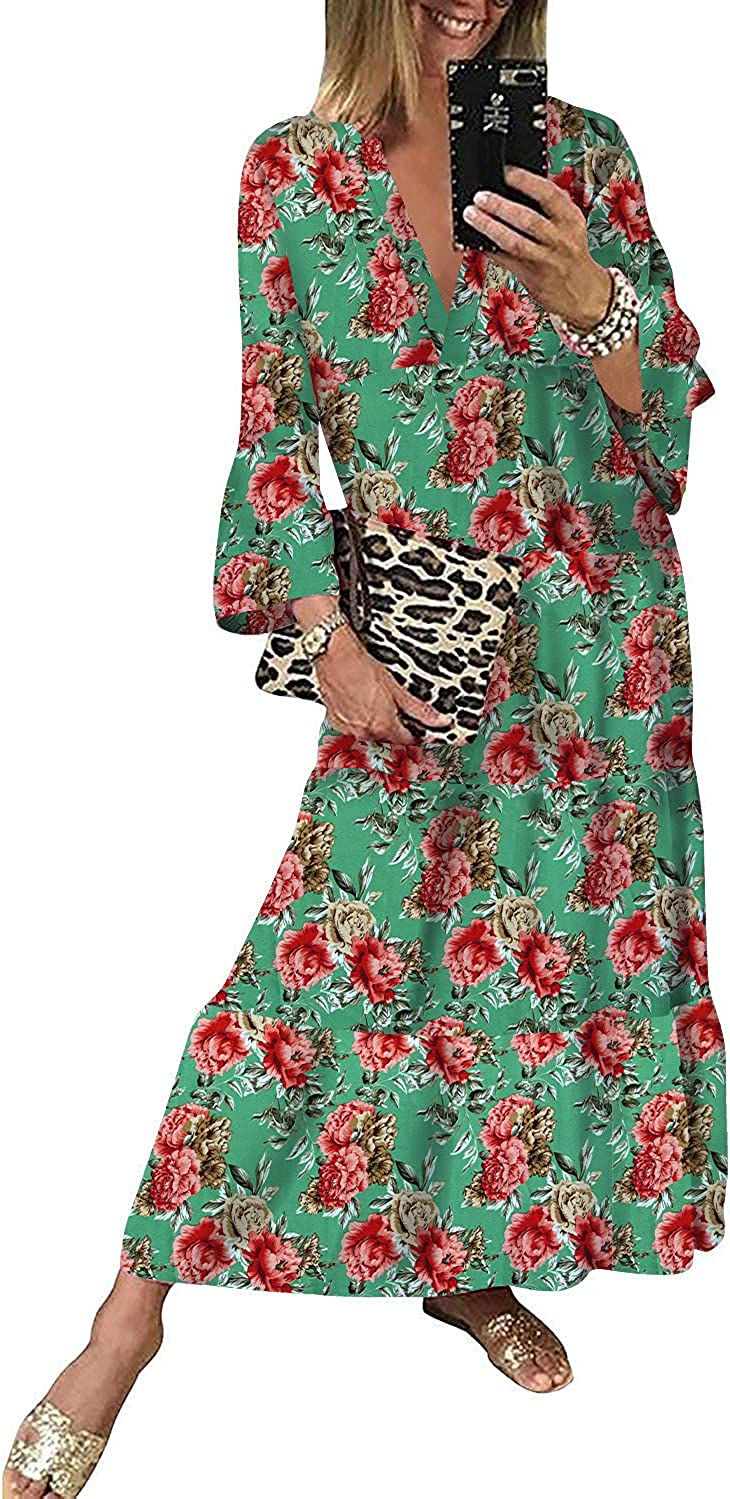 19Kenna Women's Casual 3/4 Sleeve Floral Tiered Midi Dress