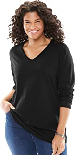 Woman Within Women's Plus Size Perfect V-Neck Long Sleeve Tee