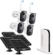 Wireless Security Camera System Battery Solar Powered Rechargeable Panel Night Vision WiFi Camera Outdoor 4CH NVR kit 1080...