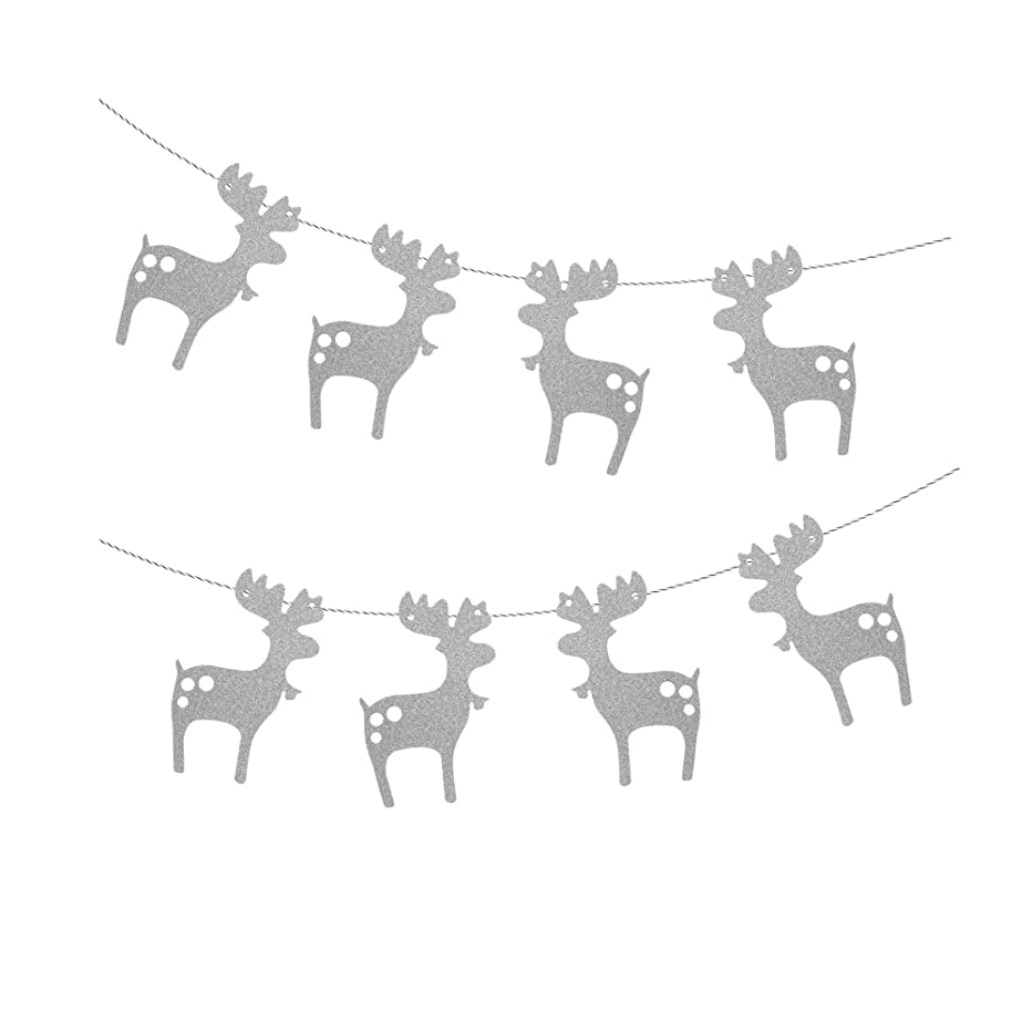 Treasures Gifted Merry Christmas Garland Celebrate a Holiday Silver Glitter Paper Garland Bunting Santa Sleigh Reindeer School Office Winter Wonderland Party Decorations