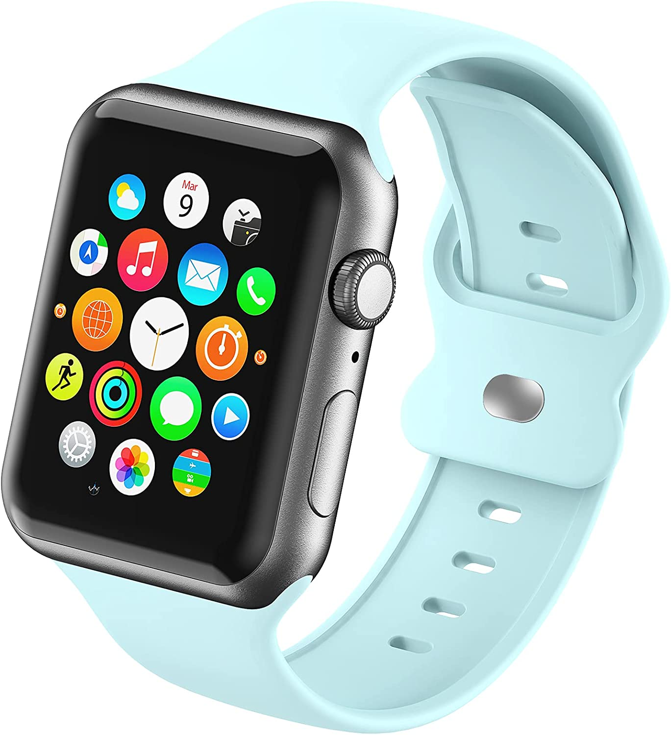 Sport Smartwatch Band Compatible with Apple Watch Bands 38mm 40mm 42mm 44mm for Women Girls Men,Soft Silicone Replacement Wristband for iWatch Series 6 5 4 3 2 1 SE Strap