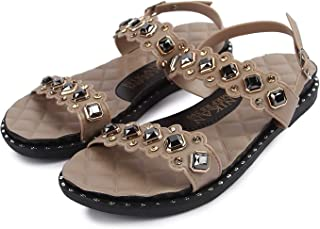 WMK Comfortable Stylish Stone Studded Foam Soft Sandal for Women and Girls