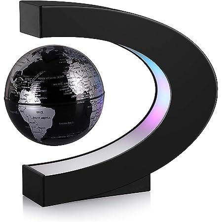 Aukee 3 inch C Shape Magnetic Levitation Floating Globe Maglev Globes World Map with LED Light for Teaching Home Office Desk Decoration Black