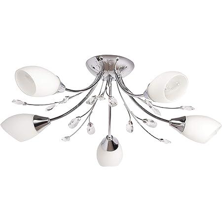 MW-Light 356015105 Plafonnier Luminaire Moderne à 5 Lampes en Métal couleur Chrome Abat-jours en Verre Blanc Mat décoré de Cristaux pour Chambre Salle à Manger 5x60W E14