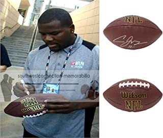 Cardale Jones Los Angeles Chargers Autographed Hand Signed NFL Wilson Football with Exact Proof Photo of Signing, Buffalo Bills, Ohio State University Buckeyes, COA- XFL DC Defenders