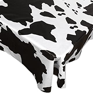 Home Bargains Plus Moo Vinyl Flannel Backed Tablecloth, Black and White Novelty Cow Print Indoor/Outdoor Vinyl Tablecloth, 70 Round