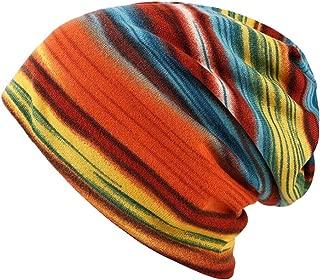 Women's Soft Rainbow Striped Slouchy Cap Beanie Skull Hat