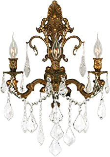 Worldwide Lighting Versailles Collection 3 Light French Gold Finish Crystal Wall Sconce 17