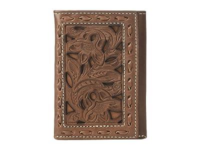 M&F Western Nocona Retro Pierced Wallet w/ Lacing Trifold Wallet (Tan) Wallet Handbags