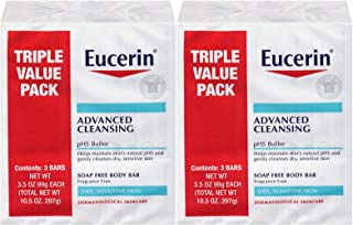 Eucerin Advanced Cleansing Soap-Free Body Bar, 3.5 Ounce Bars, 3 Count (Pack of 2) 6 Bars Total